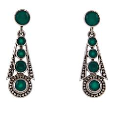 Nicky Butler 2ctw Green Chalcedony Graduated Deco Drop Earrings