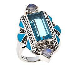 Nicky Butler 4.25ctw Aqua Quartz Triplet and Moonstone Enamel Ring
