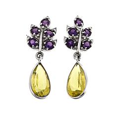 Nicky Butler 5.90ctw Amethyst and Lemon Quartz Leaf Earrings