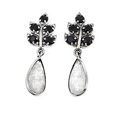 Nicky Butler 6.70ctw Black Spinel and Moonstone Leaf Earrings