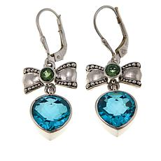 Nicky Butler 7.40ctw Aqua Quartz Triplet and Gem Bow Heart Earrings
