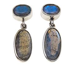 Nicky Butler 7ctw Oval Labradorite Sterling Silver Drop Earrings