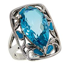 Nicky Butler Aqua Quartz Triplet and Enamel Ring