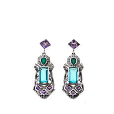 Nicky Butler Aqua Quartz Triplet & Gem Shield Earrings