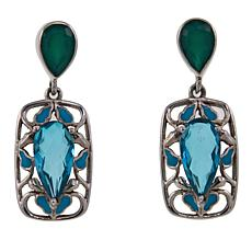 Nicky Butler Aqua Quartz Triplet, Gem and Enamel Drop Earrings