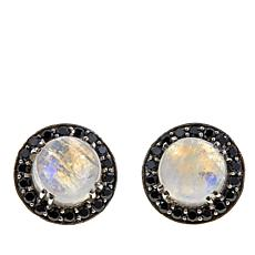Nicky Butler Moonstone and Black Spinel Frame Earrings
