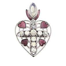 Nicky Butler Rainbow Moonstone Heart Cross Sterling Silver Pendant