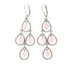 Nicky Butler Rose Quartz Bead Sterling Silver Chandelier Earrings