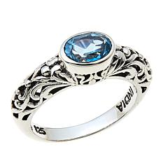 Nicky Butler Sky Blue Topaz East/West Oval Sterling Silver Band Ring