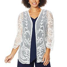 Nina Leonard 3/4-Sleeve Embroidery Mesh Topper