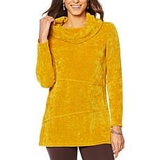 Nina Leonard Chenille Novelty Knit Cowl-Neck Tunic