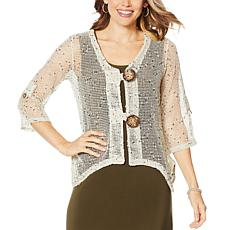 Nina Leonard Coconut Button Novelty Knit Bolero