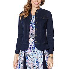 Nina Leonard Denim Stretch Button Front Jacket