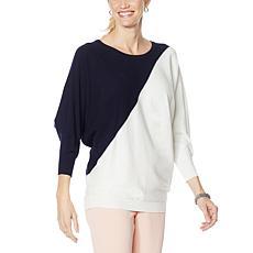 Nina Leonard Dolman-Sleeve Colorblock Pullover Sweater
