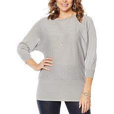 Nina Leonard Dolman-Sleeve Pullover Sweater