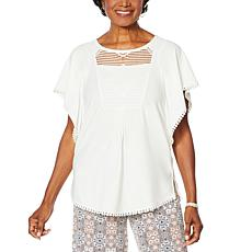 Nina Leonard Flutter-Sleeve Top with Crochet Trim