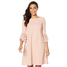 Nina Leonard High-Tech Crepe Bell Sleeve Dress