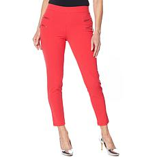 Nina Leonard High Tech Crepe Legging with Zipper Detail
