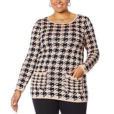 Nina Leonard Houndstooth Sweater Tunic with Pockets
