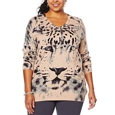 Nina Leonard Long-Sleeve Animal Print Sweater Tunic