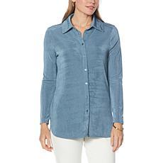 Nina Leonard Luxe Knit Button-Up Collared Shirt