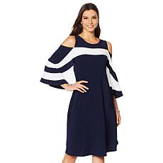 Nina Leonard Miracle Matte Cold-Shoulder Colorblock Dress