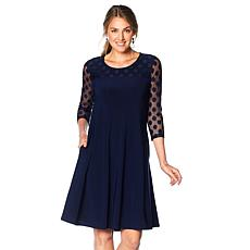 Nina Leonard Miracle Matte Jersey Dress with Polka-Dot Mesh