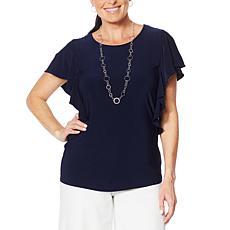 Nina Leonard Miracle Matte Jersey Ruffle-Sleeve Top