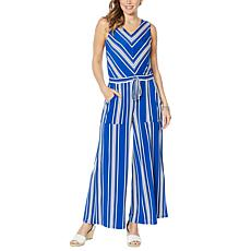 Nina Leonard Miracle Matte Jersey Striped Jumpsuit
