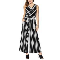 Nina Leonard Miracle Matte Jersey Striped Jumpsuit