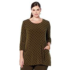 Nina Leonard Miracle Matte Printed Jersey Tunic with Pockets