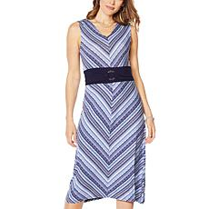 Nina Leonard Miter Stripe Stretch Midi Dress
