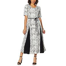 Nina Leonard Nicole Belted Midi Dress with Godet Detail
