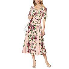 Nina Leonard Nicole Belted Midi Dress with Godet Detail