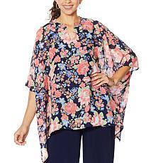 Nina Leonard Printed Chiffon Kimono Tunic with Tank
