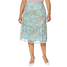 Nina Leonard Printed Power Mesh Tiered Skirt