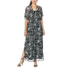 Nina Leonard Printed Powermesh Maxi Dress