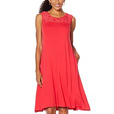 Nina Leonard Sleeveless Dress with 3D Floral Chiffon Yoke