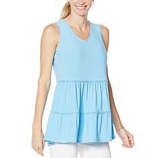 Nina Leonard Sleeveless V-Neck Tiered Tunic