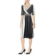 Nina Leonard Striped Elbow Sleeve Sweater Dress