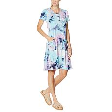 Nina Leonard Tie Dye Trapeze Dress with Pockets