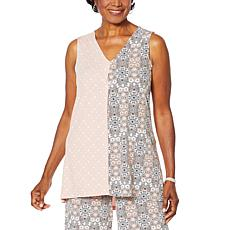 Nina Leonard Twin Print Sleeveless Tunic