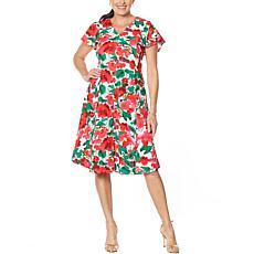 Nina Leonard V-Neck Button-Front Midi Dress