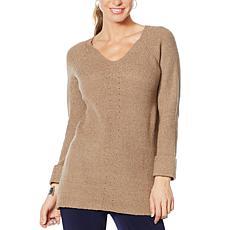 Nina Leonard V-Neck Long-Sleeve Sweater Tunic