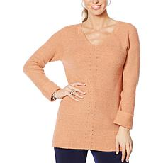 Nina Leonard V-Neck Long-Sleeve Sweater Tunic