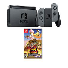 "Nintendo Gray Switch Bundle w/Accessories & ""Wild Guns Reloaded"" Game"