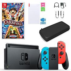 Nintendo Switch in Neon with Carnival Games and Accessories