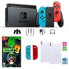 Nintendo Switch in Neon with Luigis Mansion 3, Screen Protectory an...