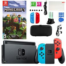 Nintendo Switch in Neon with Minecraft and Accessories Kit