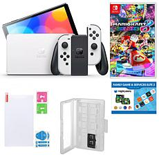Nintendo Switch OLED in White w/Mario Kart 8, Accessory Kit & Voucher
